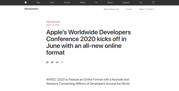 苹果官方宣布 2020年WWDC大会将以线上形式举行