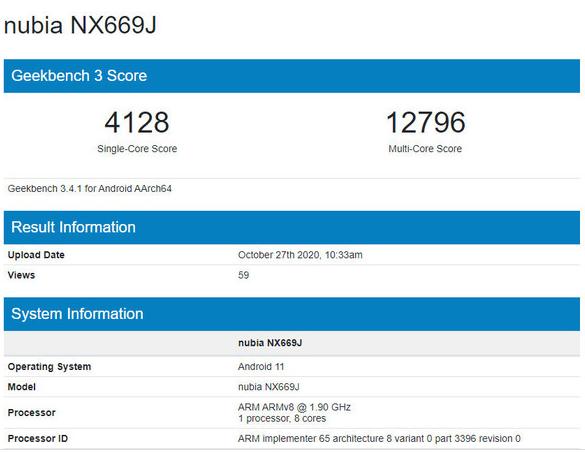 努比亚新机现身跑分网站!性能强悍小核达到1.9GHz